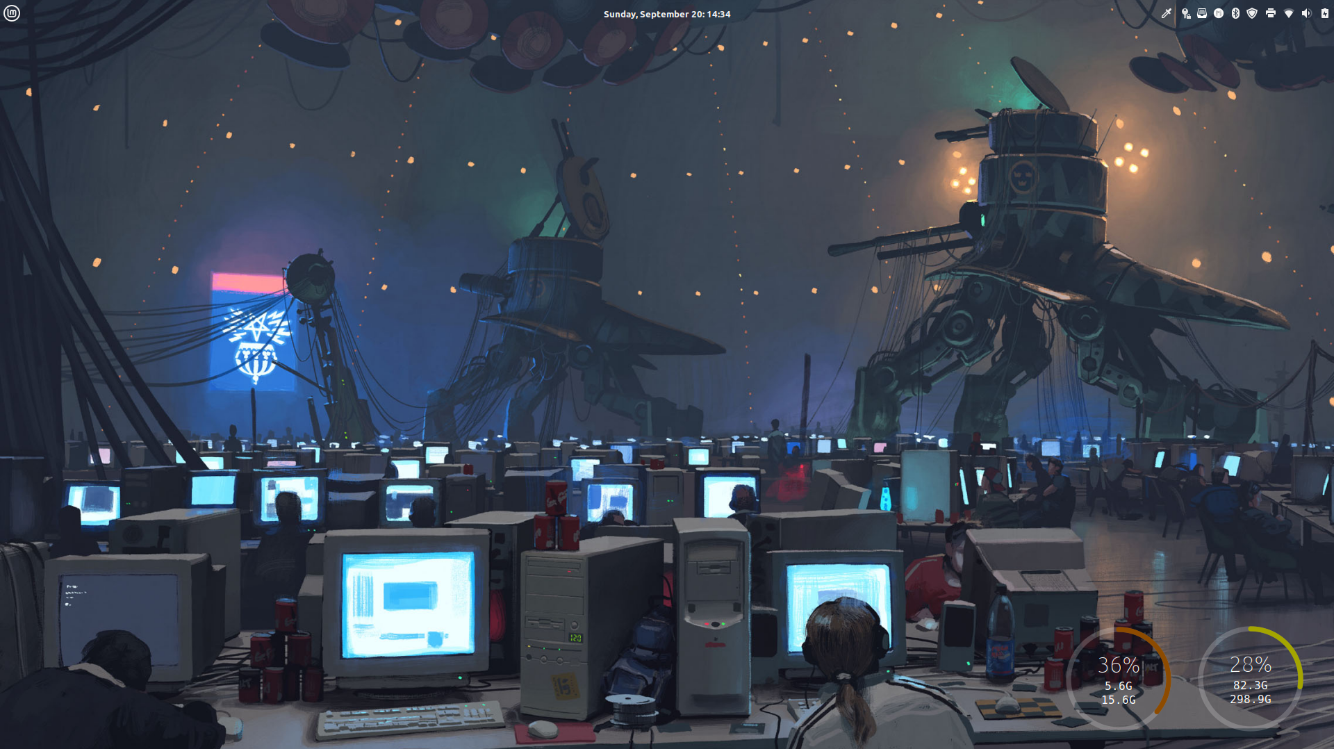 My Cinnamon Desktop - Background image by Simon Stalenhag
